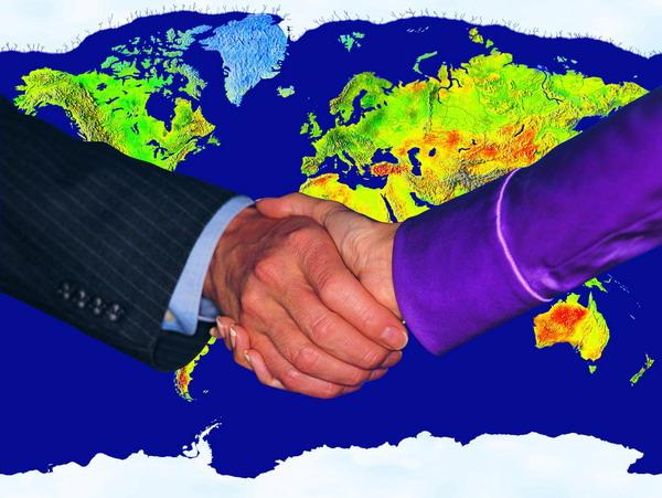 商业金融-商业合作 世界地图 国际合作 握手 共赢 合资 手 合作 成功