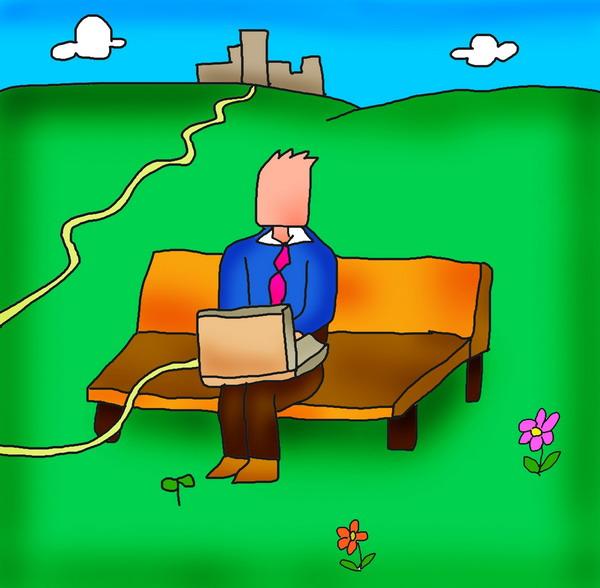 人物漫画图片-广告创意图 长椅