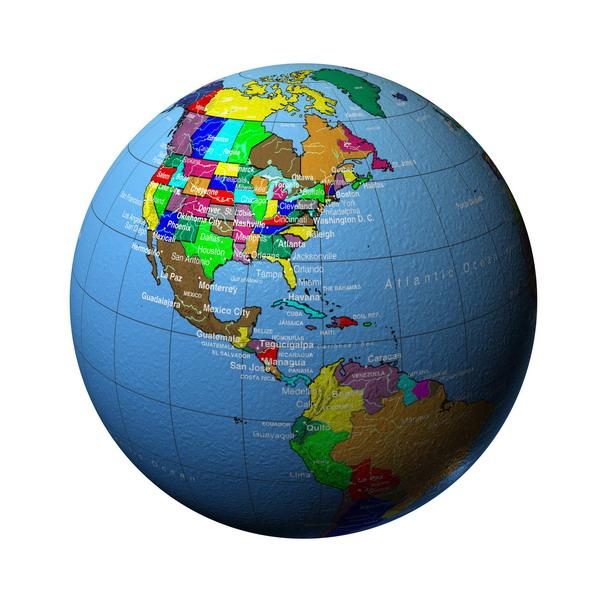 明细地图 美国 彩色地球仪图片