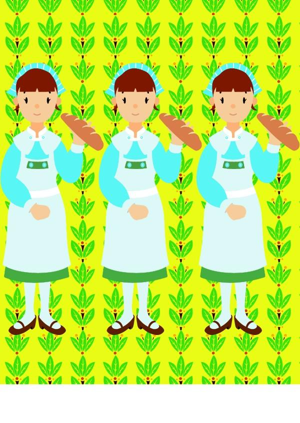 卡通人物-各行各业 可爱 面包 广告 招牌 推销