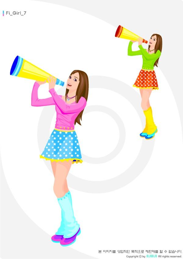 美少女 手握 喇叭 呐喊 健身-卡通人物-卡通人物,健身