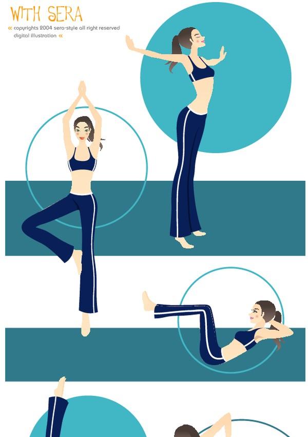 健身图片-卡通人物图 舞蹈
