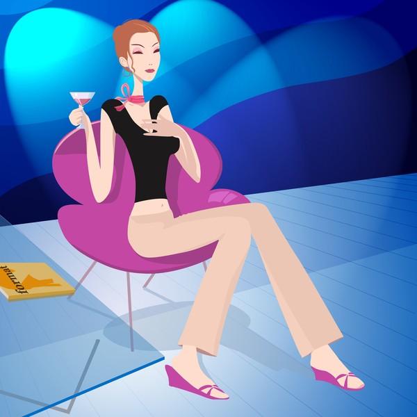 坐着 美酒 玻璃桌 分层插画-卡通人物-卡通人物