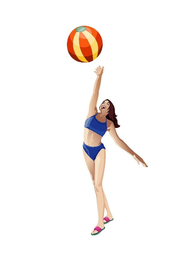 休闲运动图片 卡通人物图 沙滩 彩色 排球,卡通人物,休闲运动