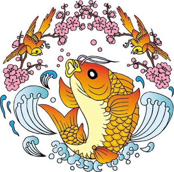 金雀 戏耍 鱼鱼 吉祥动物-中国民间艺术-中国民间艺术,吉祥动物