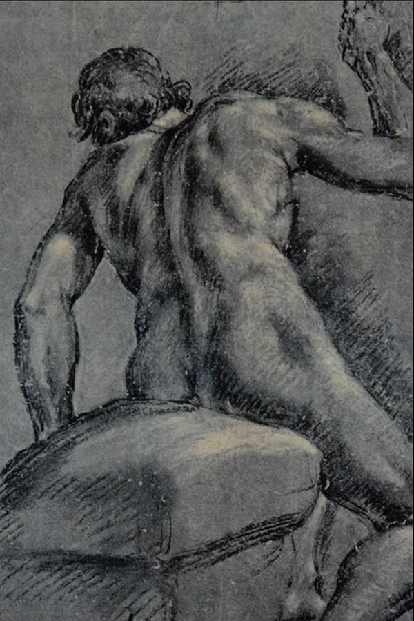 人物素描图片 国外传世名画图 全身像 背影 肌肉 力量 裸