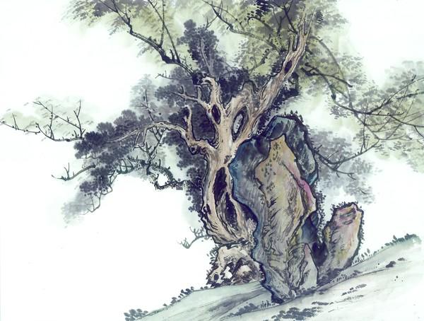 花园 树枝 园艺 古树奇石-中国国画-中国国画,古树奇石