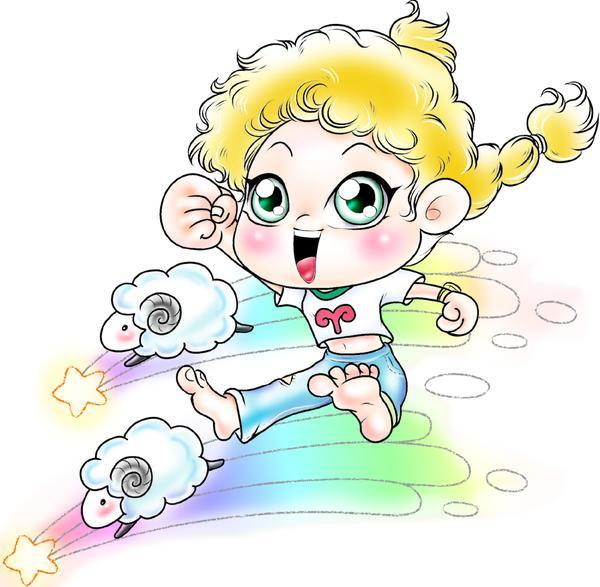 12星座图片 漫画卡通图 牧羊座 追赶 小男孩,漫画卡通,12星座图片