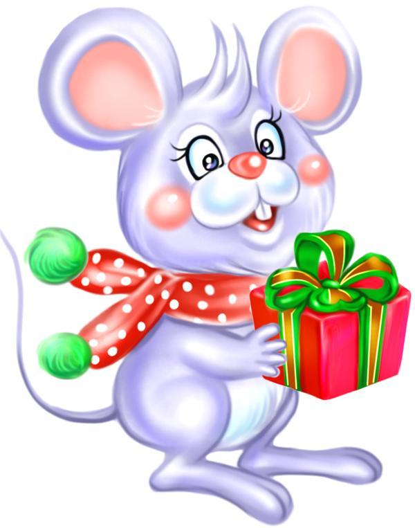 老鼠 送礼 大耳 节庆动物-漫画卡通-漫画卡通