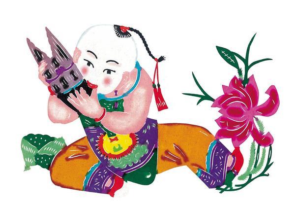 中国图片-中华剪纸 剪纸艺术 胖娃娃 红荷花