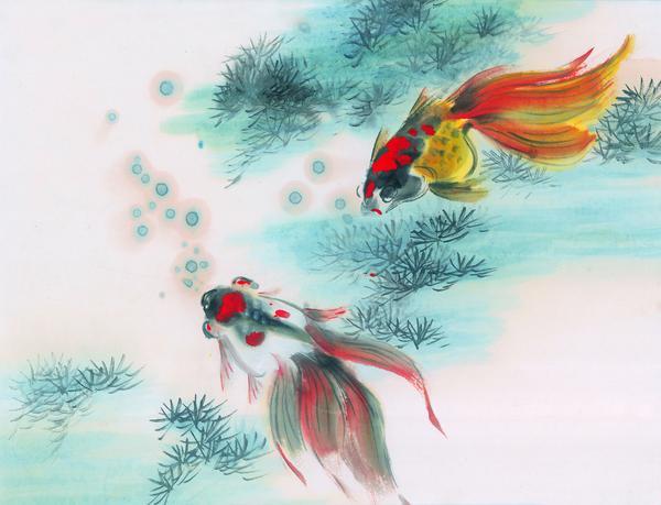 水下动物画图片-山水名画图