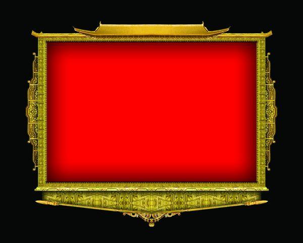 古建瑰宝-古建分层图案 图形 红色 边框