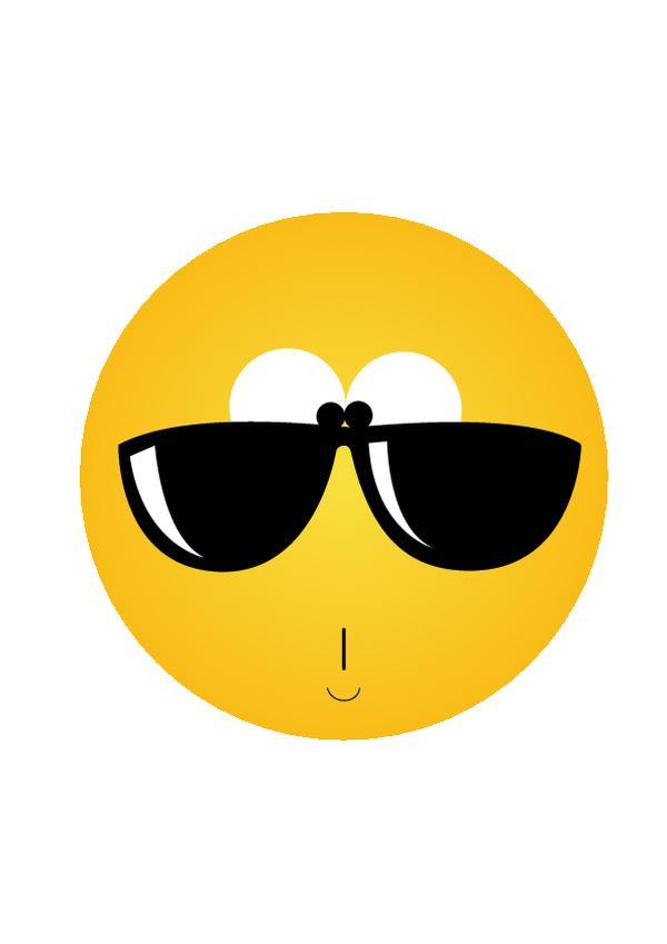 一个圆 黄色 戴着墨镜