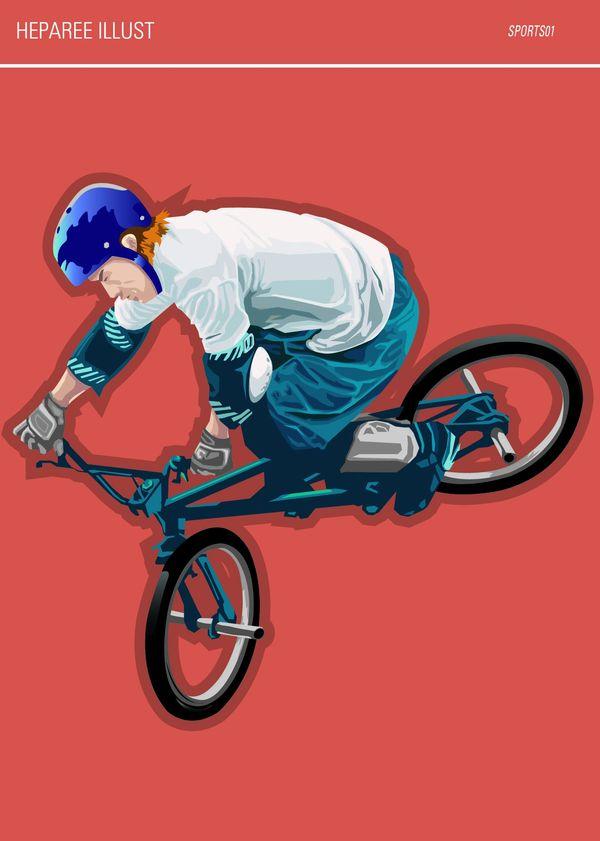 休闲运动图片-标题插画图 骑山地车 蓝色头盔