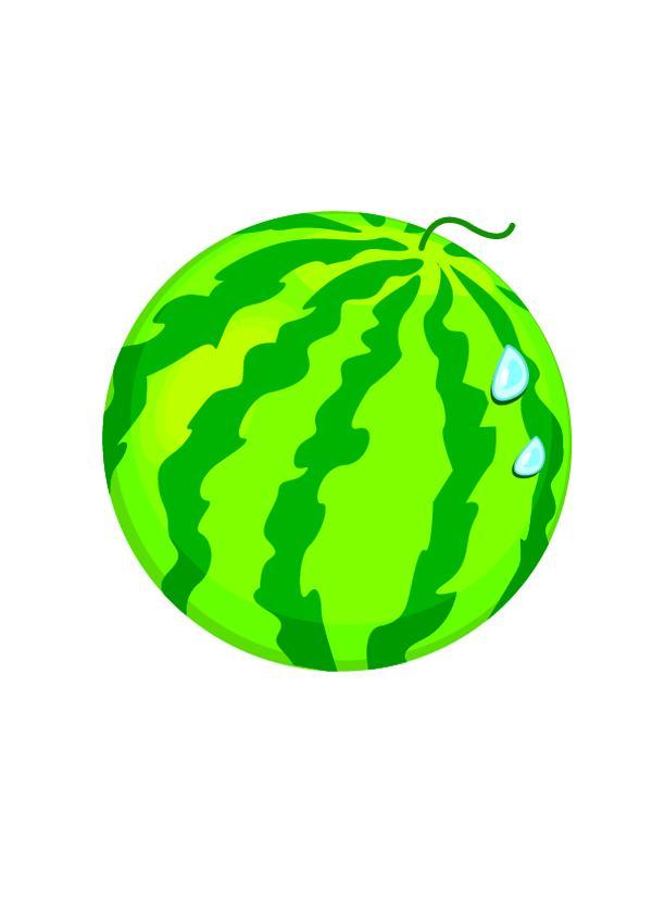 水彩画 简笔画 西瓜 饮食水果-饮食水果-饮食水果,饮食水果