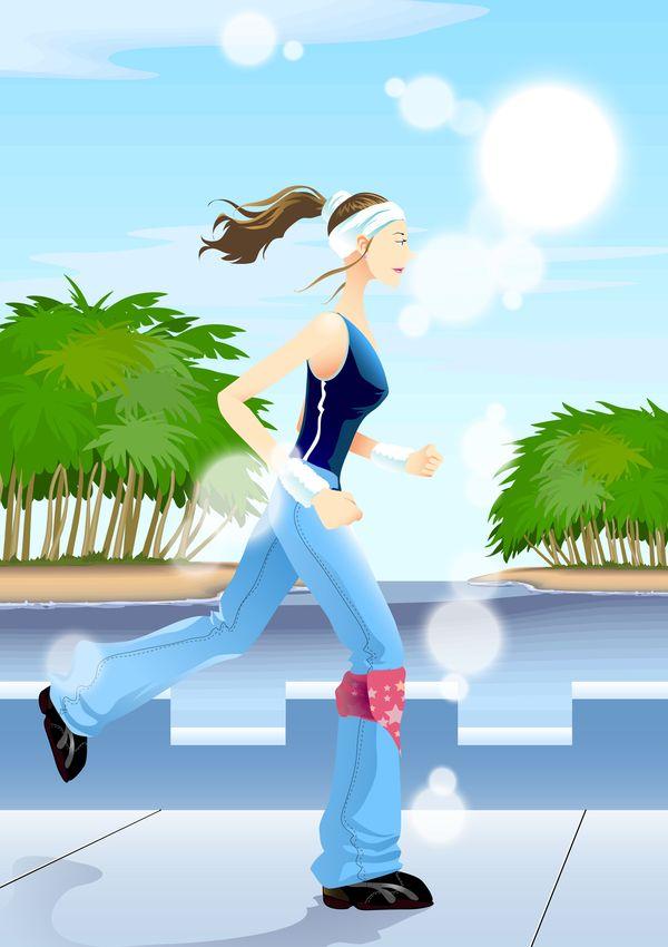 减肥瘦身标题-标题插画图晨跑马尾图片,长裤欧普吊顶集成换气扇图片