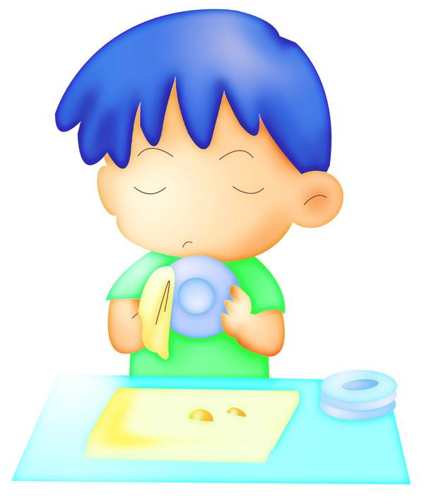 标题插画图 孩子 家务 洗碗,标题插画篇,卡哇伊喷画素材
