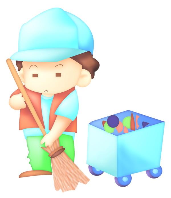 清洁工 扫地 卡哇伊喷画素材-标题插画-标题插画篇,卡哇伊喷画素材