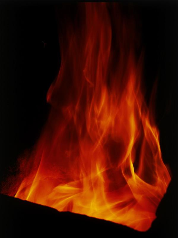 自然风景-炽热火焰 红色 火势 黑夜