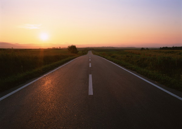 自然风景-夕阳风景 公路 高速公路 黄昏