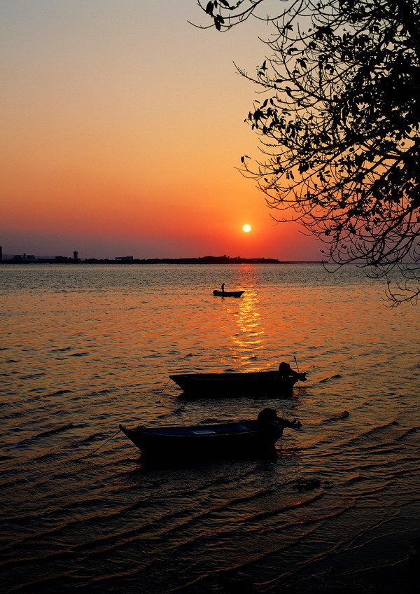 夕阳风景图片-自然风景图 落日渔歌 湖光 水乡的傍晚,自然风景,夕阳风景