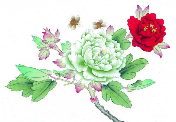 牡丹 白色 红色 蝴蝶 双飞 花鸟国画-中华图片-中华图片,花鸟国画