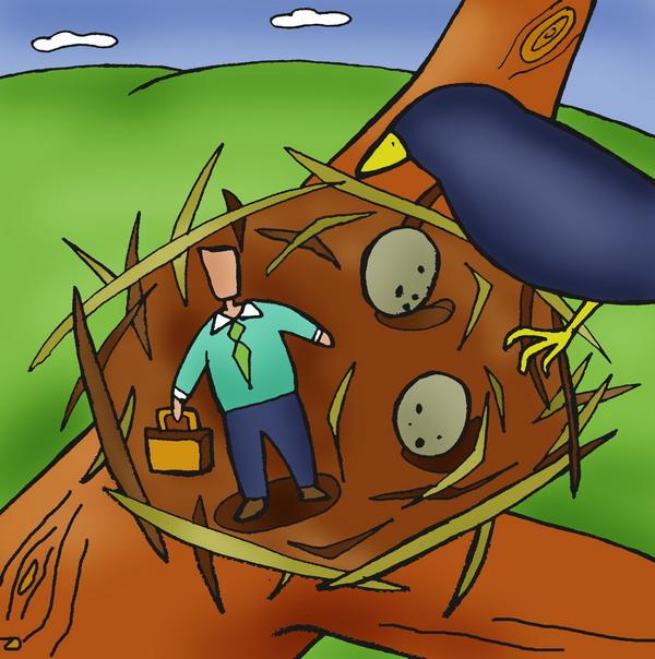 人物漫画图片-广告创意图 鸟窝