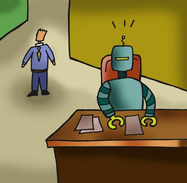 广告创意-人物漫画 机器人 工作 办公室