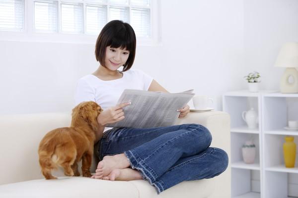 女性宠物图片-休闲图 少妇 沙发 狗狗,休闲,女性