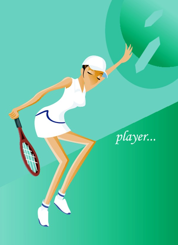网球女孩 球拍 健身-卡通人物-卡通人物
