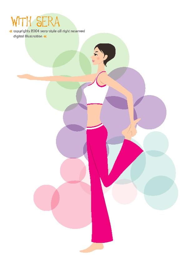 女子瑜伽 健身-卡通人物-卡通人物,健身