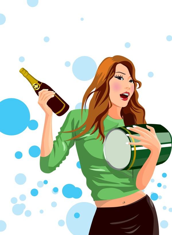 卡通人物-分层插画 乐器 抱着 右手拿酒瓶