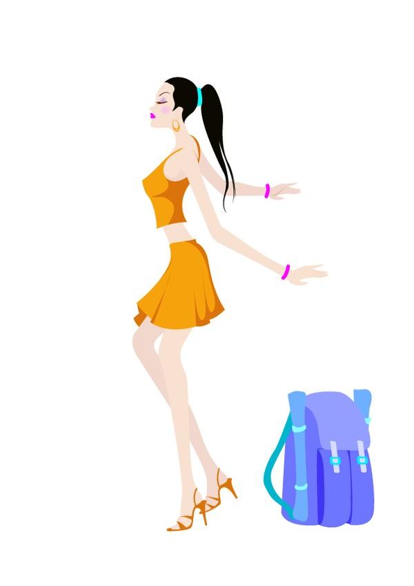 旅游甜心图片-卡通人物图 侧身