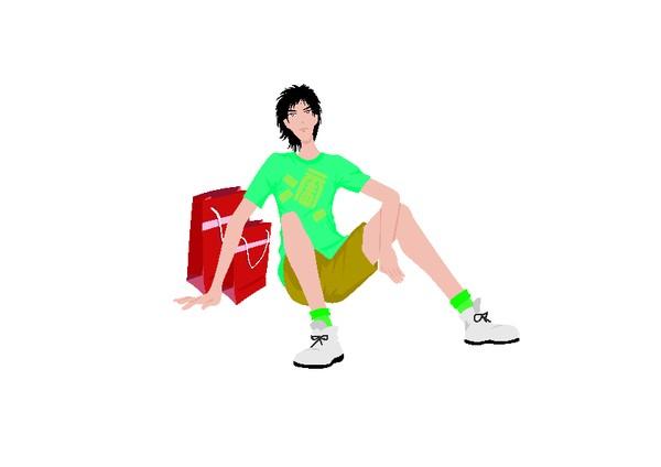 卡通人物-流行时男 坐姿 短裤 眺望 绿色t恤 红色购物袋