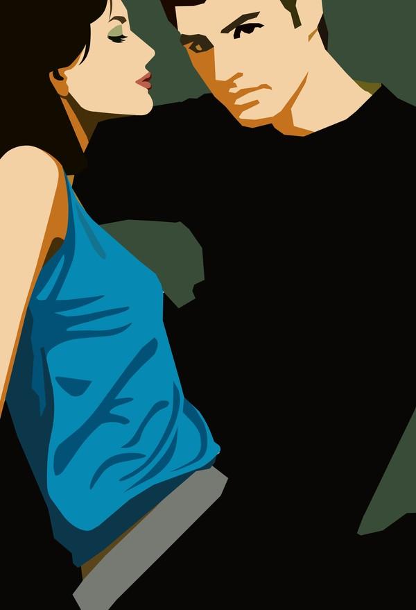 卡通人物-男女名媛 情侣 展示 专注 亲密 坐姿