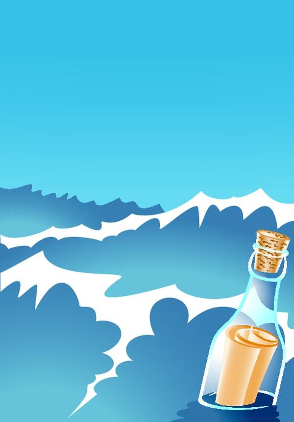 浪花 漂流瓶 纸条 矢量背景素材-底纹-底纹,矢量背景素材