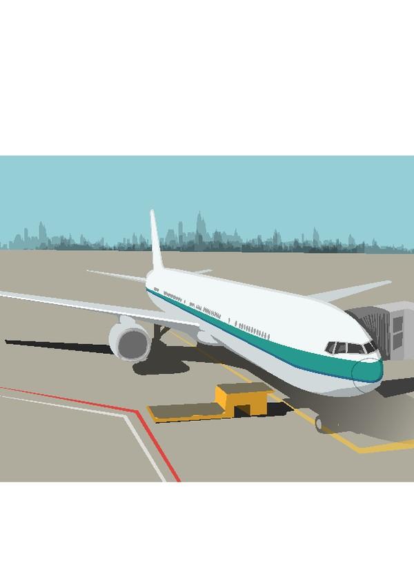 飞机 机场 外界风景-时尚卡通-时尚卡通