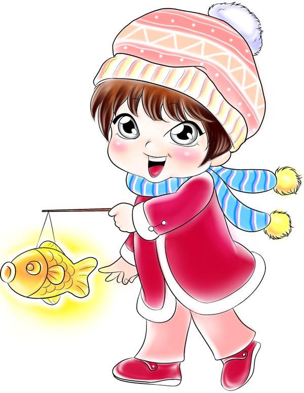 元宵节 围巾 鲤鱼 灯笼
