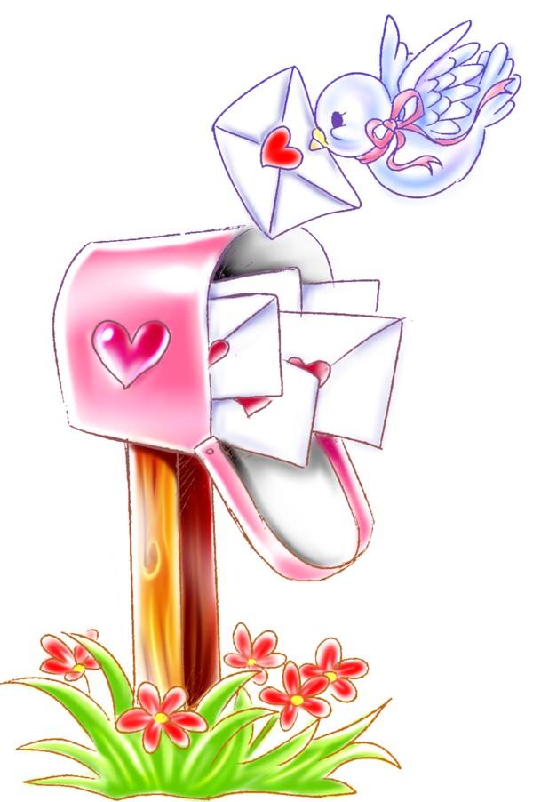 时尚卡通-恭贺庆典-情书 信鸽 邮筒 信封