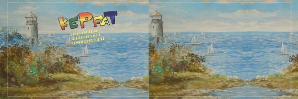 数码影楼平面模板-儿童宽幅跨页模板 海岛 灯塔 拼接