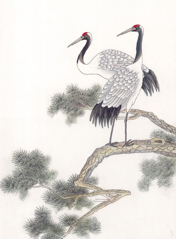 仙鹤 松树 风景 吉祥鸟-中国国画-中国国画,吉祥鸟类