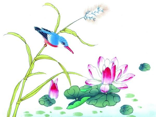 荷花 翠鸟 工笔花鸟-中国国画-中国国画