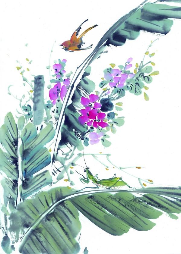 芭蕉 小鸟 螳螂 枝头飞乌-中国国画-中国国画,枝头飞乌