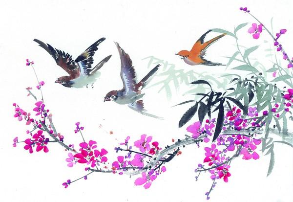 枝头飞乌图片-中国国画图 燕子 迁徙 飞翔,中国