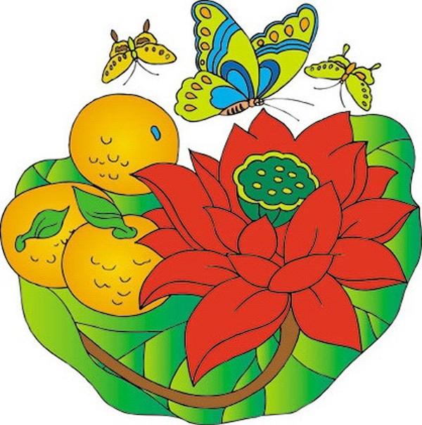 蝴蝶 莲花 莲蓬 吉祥动物-中国民间艺术-中国民间艺术,吉祥动物