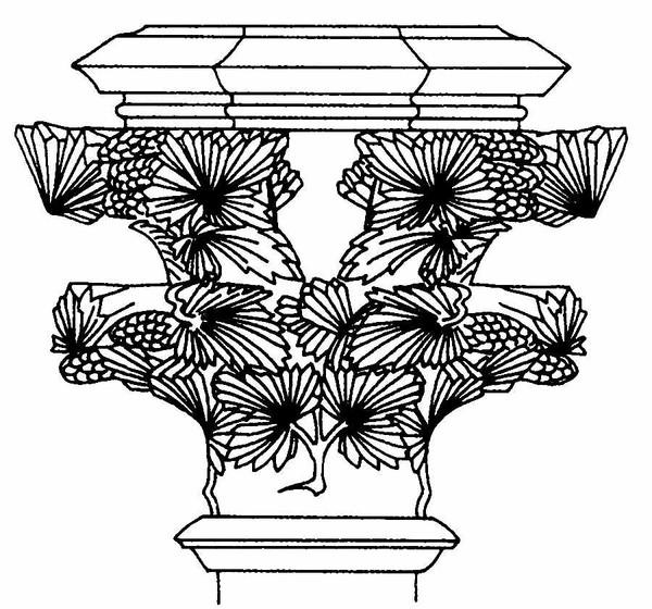叶片 石柱 植物图案花纹-中国民间艺术-中国