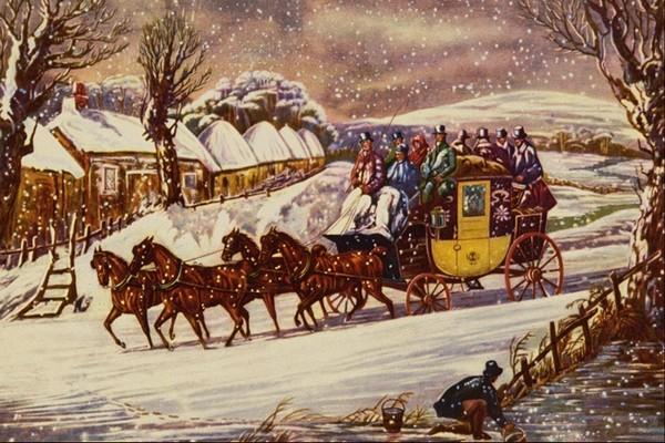 冬天 雪花 下雪 马车 雪地 人物油画图片 国外传世名画图