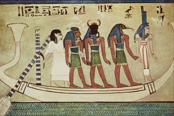 国外传世名画-埃及壁画 独木舟 人身 兽面