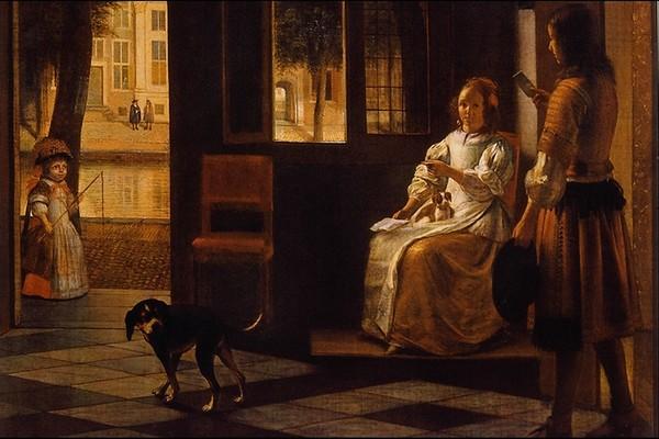 国外传世名画-风景油画 狗 宠物 对话 出门 孩童