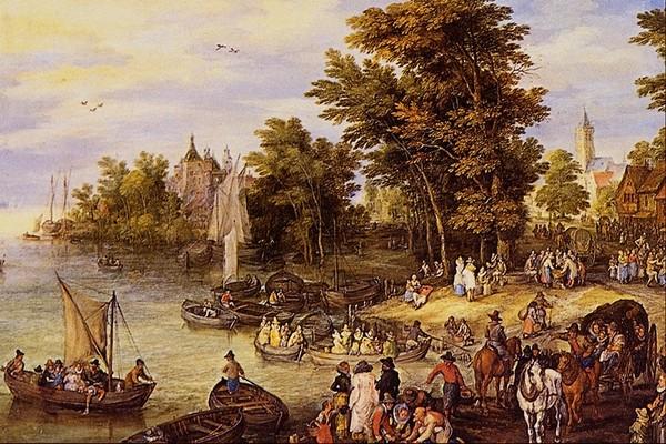 风景 船只 湖水 风景油画-国外传世名画-国外传世名画,风景油画